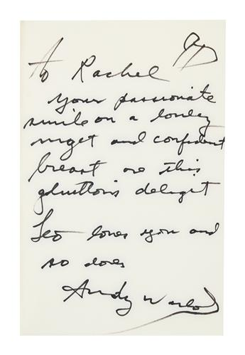 WARHOL, ANDY. Warhol and Hackett. Popism. Signed and Inscribed, on the front free endpaper, to Rachel [Levine]. Additionally Signed, A