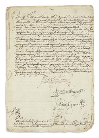 (MEXICAN MANUSCRIPTS.) Signed viceregal order to release a prisoner arrested for protesting abuses against farmers.