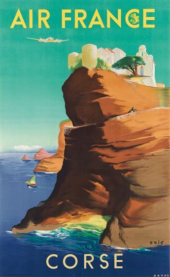 ERIC (RAOUL ERIC CASTEL, 1915-1997). AIR FRANCE / CORSE. 1949. 39x24 inches, 99x61 cm. Havas, [Paris.]