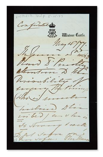 VICTORIA, QUEEN OF THE UK. Autograph Letter Signed, The Queen four times, in the third person within the text, to Dr....