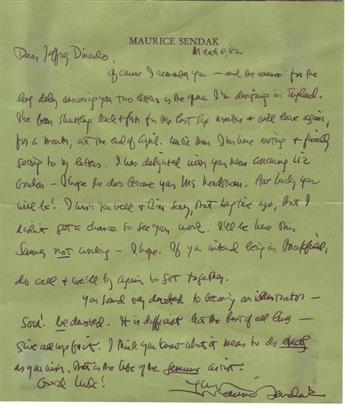 SENDAK, MAURICE. Autograph Letter Signed, to Jeffrey Dinardo,