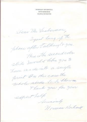 ROCKWELL, NORMAN. Autograph Letter Signed, to Ken Lieberman (Dear Mr. Lieberman),
