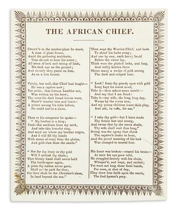 (SLAVERY AND ABOLITION.) [Bryant, William Cullen.] The African Chief.