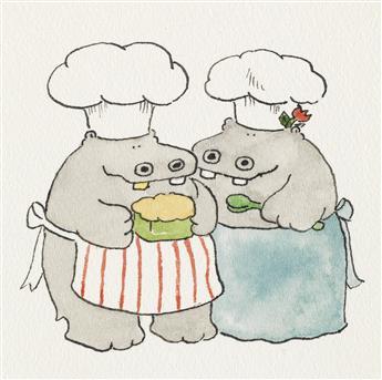JAMES MARSHALL.  (HIPPOS) George and Martha.