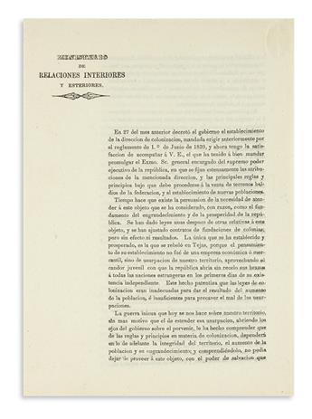 """(MEXICO.) Lafragua, José María. """"El 27 del mes anterior decretó el gobierno el establecimiento de la dirección de colonización."""