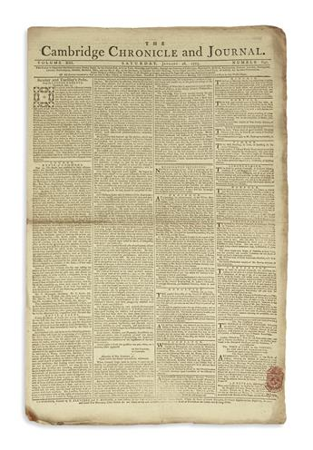 (AMERICAN REVOLUTION--PRELUDE.) Issue of the Cambridge Chronicle, including a non-discussion of the petition from Continental Congress.