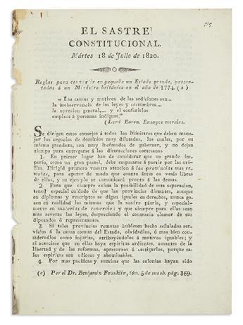 """FRANKLIN, BENJAMIN. """"Reglas para convertir en pequeño en estado grande, presentadas a un ministro británico en el año de 1774"""""""