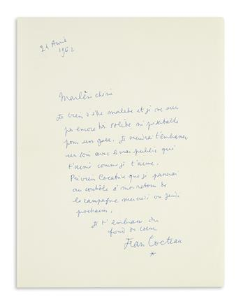 COCTEAU, JEAN. Autograph Letter Signed, Jean Cocteau / [asterisk], to Marlene Dietrich (Marlene dear), in French,