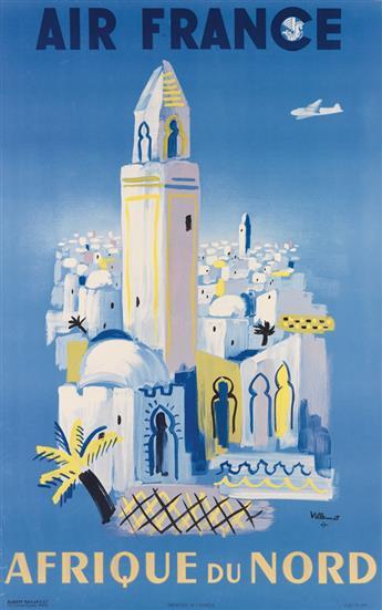 BERNARD VILLEMOT (1911-1989). AIR FRANCE / AFRIQUE DU NORD. 1946. 39x24 inches, 99x61 cm. Hubert Baille & Cie., Paris.