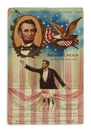 (EPHEMERA.) Group of ephemera relating to the 1909 centennial of Lincolns birth.
