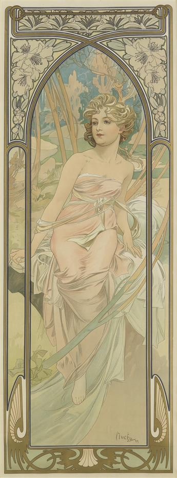 ALPHONSE MUCHA (1860-1939). [THE TIMES OF THE DAY / ÉVEIL DU MATIN.] 1899. 41x15 inches, 104x38 cm. [F. Champenois, Paris.]