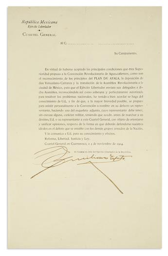 (MEXICO.) Zapata, Emiliano. Circular letter to Mexicos revolutionary leaders in the wake of the Convention of Aguascaliente.