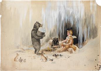 FREDERICK MOLADORE SPIEGLE. Cherubic fox with Bears.