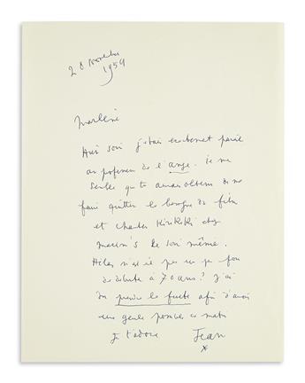 COCTEAU, JEAN. Two Autograph Letters Signed, Jean / [asterisk], to Marlene Dietrich (Marlene or Marlene dear), in French.