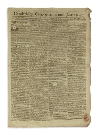 (AMERICAN REVOLUTION--1775.) Group of 45 issues of the Cambridge Chronicle from the period of the Revolution.