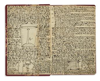 (MEXICAN COOKERY.) Manuscript cookbook with illustrations of distilling processes.