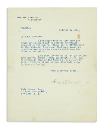 ROOSEVELT, FRANKLIN D. Typed Letter Signed, as President, to Wade Chance,