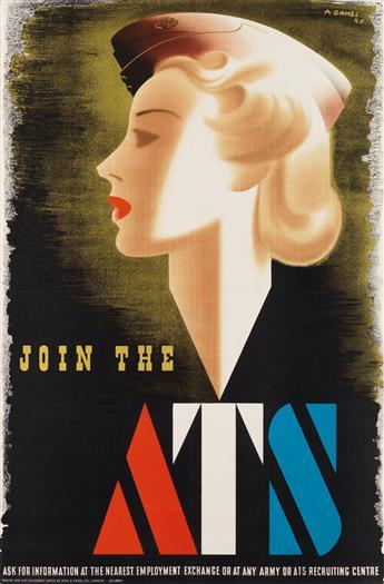 ABRAM GAMES (1914-1996). JOIN THE ATS. 1941. 28x19 inches, 73x48 cm. Fosh & Cross Ltd., London.