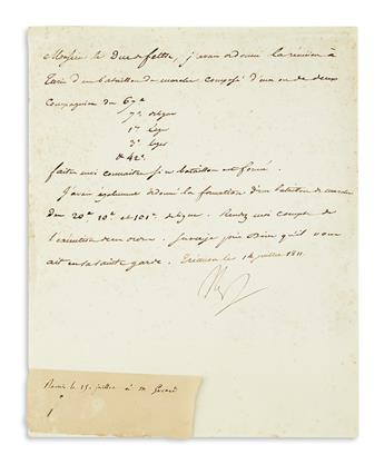 NAPOLÉON. Letter Signed, Nap, to his Minister of War the Duc de Feltre, in French,