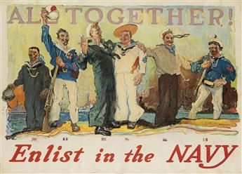 HENRY REUTERDAHL (1871-1925). ALL TOGETHER! / ENLIST IN THE NAVY. Group of 8 duplicate posters. 1917. Each 31x43 inches, 80x109 cm.
