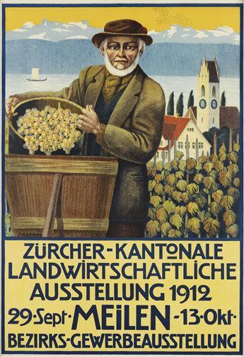 J. AMMANN (DATES UNKNOWN). ZÜRCHER - KANTONALE LANDWIRTSCHAFTLICHE AUSSTELLUNG. 1912. 38x27 inches, 98x68 cm.