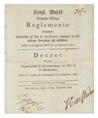 (SAINT BARTÉLEMY.) Group of 5 decrees concerning Swedens only long-term overseas possession, plus an earlier Swedish trade document.