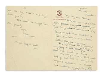 HEMINGWAY, ERNEST. Autograph Letter Signed, twice (Papa and EH), to Marlene Dietrich (My very dear Marlene),