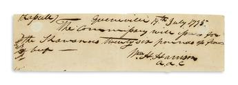 HARRISON, WILLIAM HENRY. Autograph Document Signed, Wm. H. Harrison / a[ide] d[e] c[amp], ordering food for the Shawnee: