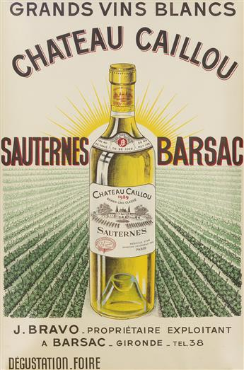 DESIGNER UNKNOWN. CHATEAU CAILLOU / SAUTERNES BARSAC. 36x24 inches, 92x61 cm. Coupeaud et Barriere, Bordeaux.