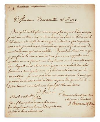 (SCIENTISTS.) BERNOULLI, JOHANN (THE ELDER). Letter Signed, J. Bernoulli Pere, to Mr. Bernoulli, in French,