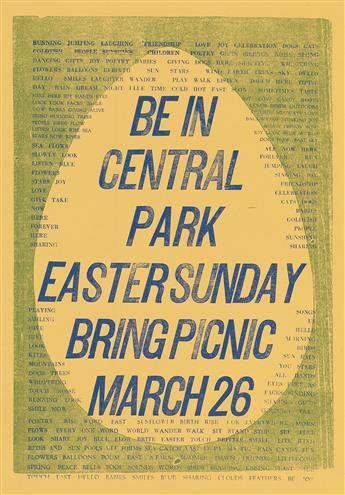VARIOUS ARTISTS. BE IN / CENTRAL PARK EASTER SUNDAY. Group of 5 flyers. 1967. Sizes vary, generally 13x9 inches, 33x23 cm.