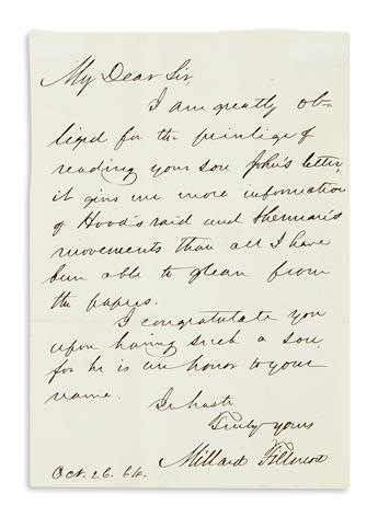 FILLMORE, MILLARD. Autograph Letter Signed, to My Dear Sir,