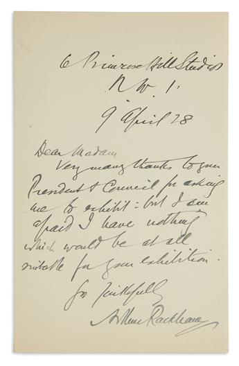 ARTHUR RACKHAM. Brief Autograph Letter Signed, to Dear Madam: Very many thanks to your President & Council fo...