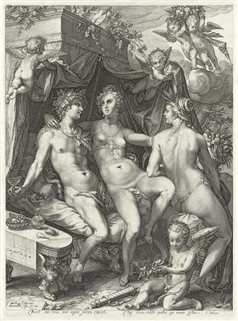 JAN SAENREDAM (after Goltzius) Bacchus, Ceres and Venus