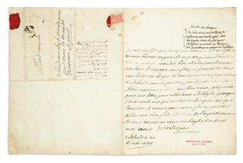 MONTESQUIEU, CHARLES DE SECONDAT. Letter Signed, Montesquieu, with holograph address panel, to one of his daughters