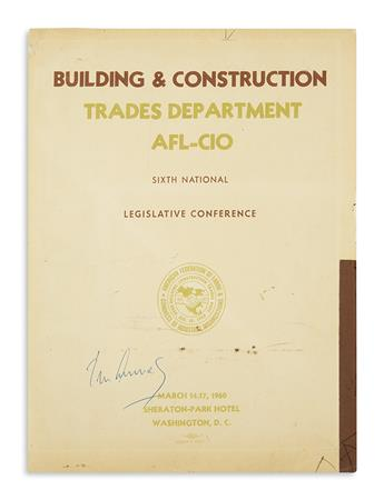KENNEDY, JOHN F. Signature, John Kennedy, as Senator, on the cover of a program for the Building and Construction Trades Sixth Nation