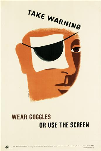 TOM ECKERSLEY (1914-1997). [WORK SAFETY.] Two posters. Circa 1943. Each 29x19 inches, 75x50 cm. Loxley Bros. Ltd., [London.]