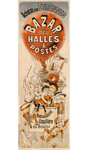 DESIGNER UNKNOWN. ACHETEZ VOS ETRENNES AU BAZAR DES HALLES & POSTES. Circa 1895. 83x30 inches, 212x76 cm. Charles Verneau, Paris.