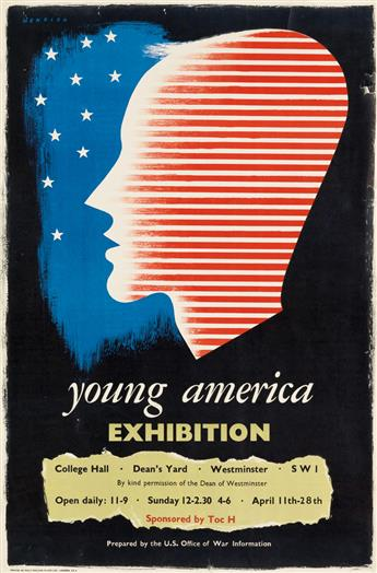 FREDERIC HENRI KAY HENRION (1914-1990). YOUNG AMERICA EXHIBITION. 1944. 29x19 inches, 74x49 cm. Machine Plates Ltd., London.