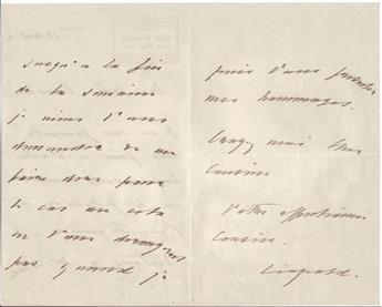 LEOPOLD II; KING OF THE BELGIANS. Two items, each Signed, Leopold, each in French: Autograph Letter * Letter.