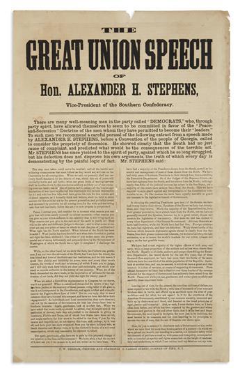 (CIVIL WAR.) The Great Union Speech of Hon. Alexander H. Stephens.