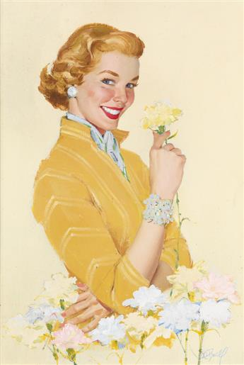 AL BUELL. Smiling woman in yellow blouse holding carnation.