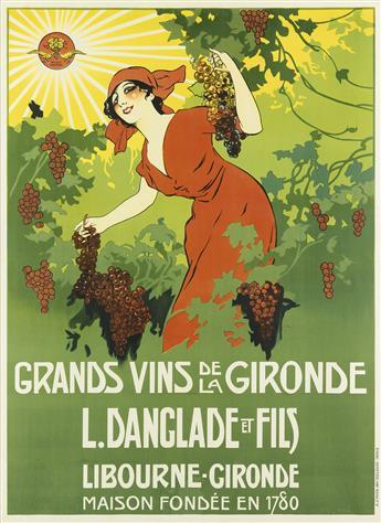 DESIGNER UNKNOWN. GRANDS VINS DE LA GIRONDE / L. DANGLADE ET FILS. 63x46 inches, 160x117 cm. B. Sirven, Toulouse.