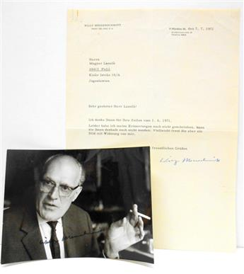 MESSERSCHMITT, WILLY. Two items, each Signed: Photograph * Typed Letter.