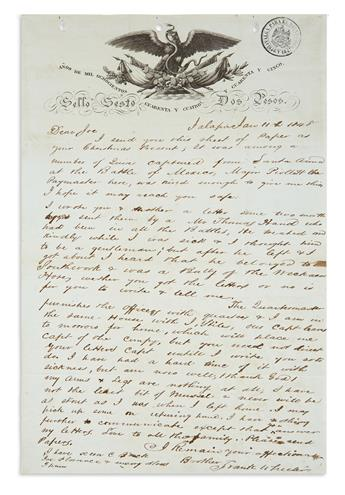 (MEXICAN WAR.) Wheeler, Frank. Letter written on letterhead captured from Santa Anna.