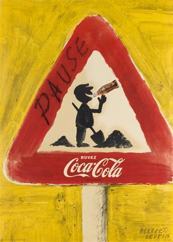 HERBERT LEUPIN (1916-1999). BUVEZ COCA - COLA / PAUSE. 1957. 48x34 inches, 123x88 cm. Hug & Söhne, Zurich.