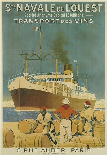 SANDY HOOK (GEORGES TABOUREAU, 1879-1960). STÉ NAVALE DE LOUEST. 47x35 inches, 120x89 cm. Champenois, Paris.