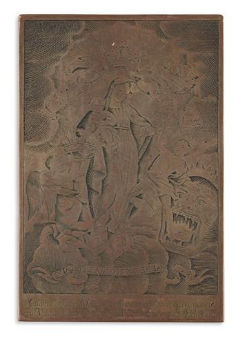 (MEXICO.) Copper printing plate of La Madre Santísima de la Luz.