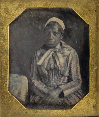 (AFRICAN AMERICANS) Group of 4 hard images, including a sixth-plate daguerreotype portrait of an African American woman.