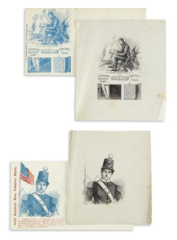 (CIVIL WAR--COVERS.) Printer's proofs for two patriotic covers, with examples of the final products.
